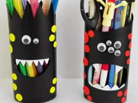 怎么用洗发水瓶做万圣节怪物笔筒