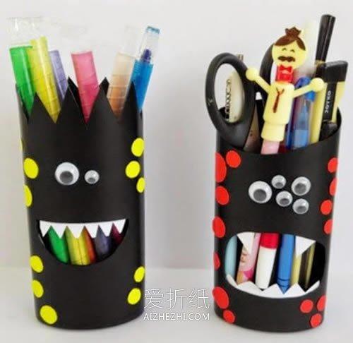 怎么用洗发水瓶做万圣节怪物笔筒- www.aizhezhi.com