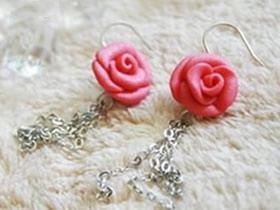 粘土玫瑰花耳环怎么做