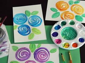 儿童画玫瑰花水彩画
